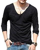 TOOGOO(R) Men Deep V-neck Long Sleeve Gym Fitness T-Shirt Outdoor Solid Undershirt Black XL