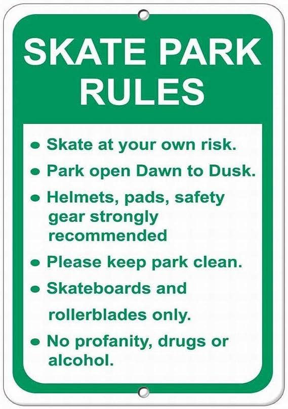 Vinmea Skate Park Rules Skate At At Your Own Risk Sicherheitsschild Straßenschild 12x16 Amazon De