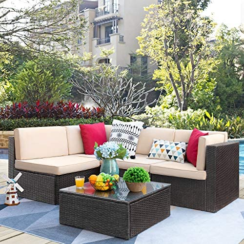 VICTONE Patio Furniture Sets 5 Pieces Outdoor Sectional Rattan Sofa All-Weather Manual Weaving Wicker Sofa Brown