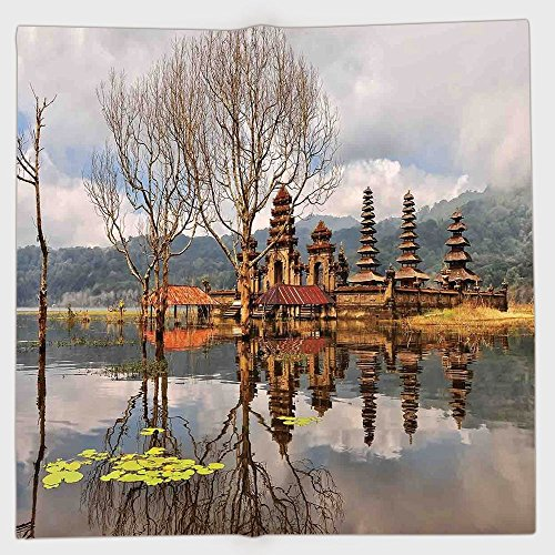 iPrint Polyester Bandana Headband Scarves Headwrap,Balinese Decor,Forest Trees Temple Cloudy Sky Reflection on Tamblingan Lake Bali Landscape Picture,Brown Grey,for Women Men (Balinese Hat)
