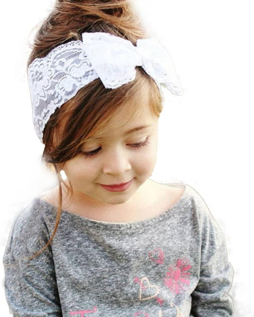 White Coromose Fashion Girls Lace Big Bow Hair Band Baby Head Wrap Band Accessories