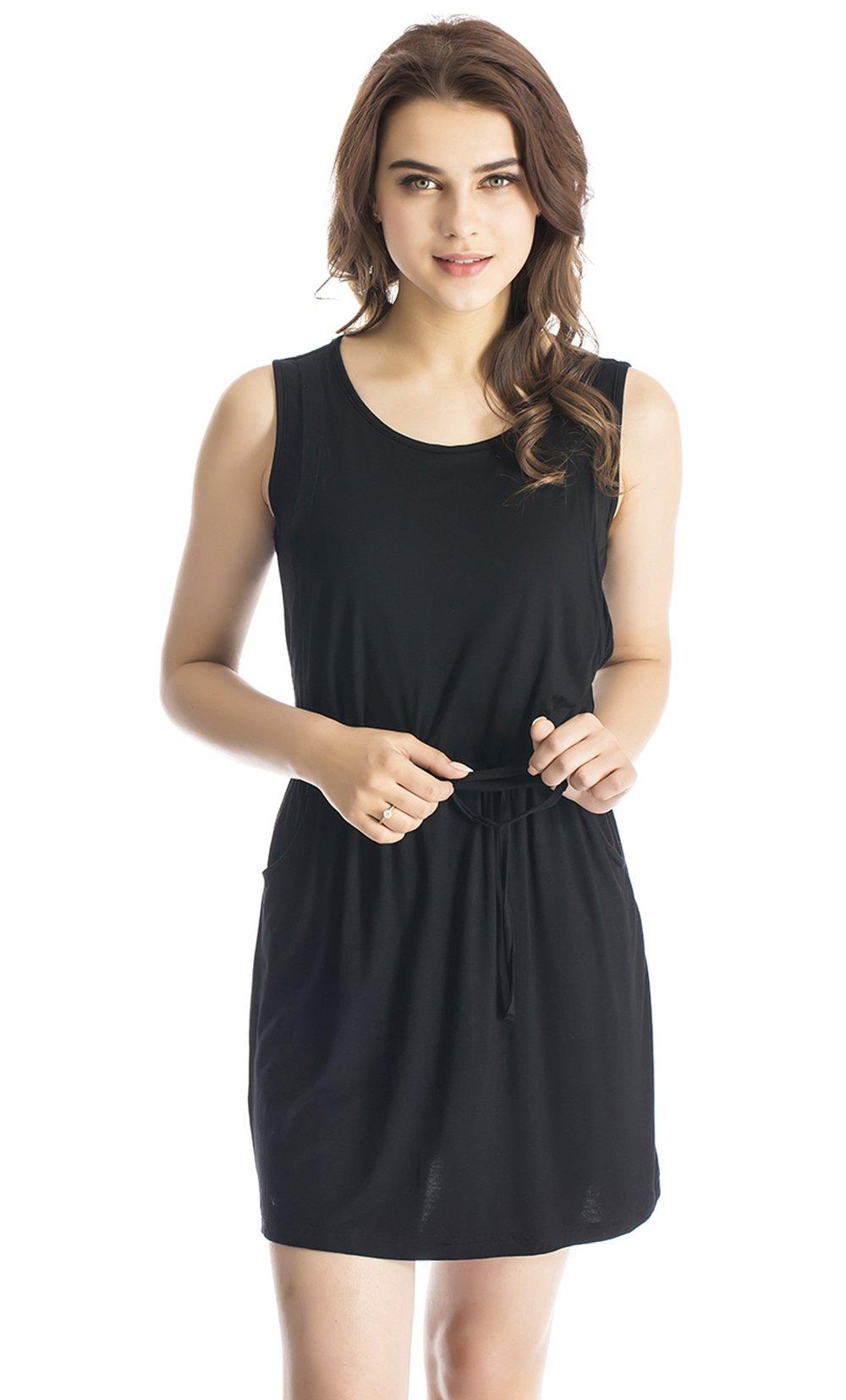 Modern Mummy Women's Pure Sleeveless Maternity Nursing Dress for Breastfeeding Black Small