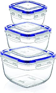 Superio Food Storage Containers, Airtight Leak-Proof Meal Prep Containers, Square Deep Containers Set Of 3