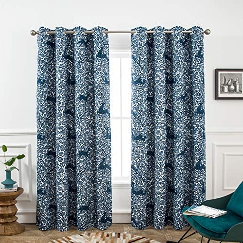 DriftAway Deer Fawn Flower Forest Lined Thermal Insulated Blackout Window Curtain Grommet 2 Panels 52 Inch