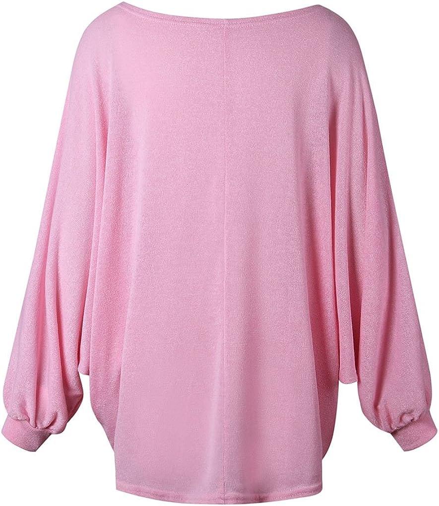 BienBien Pullover Oversize Donna Ragazza Tumblr Sweatshirt Maniche Lunghe a Pipistrello Lavorato a Maglia Allentato Maglione Blusa Camica Top Autunno Inverno