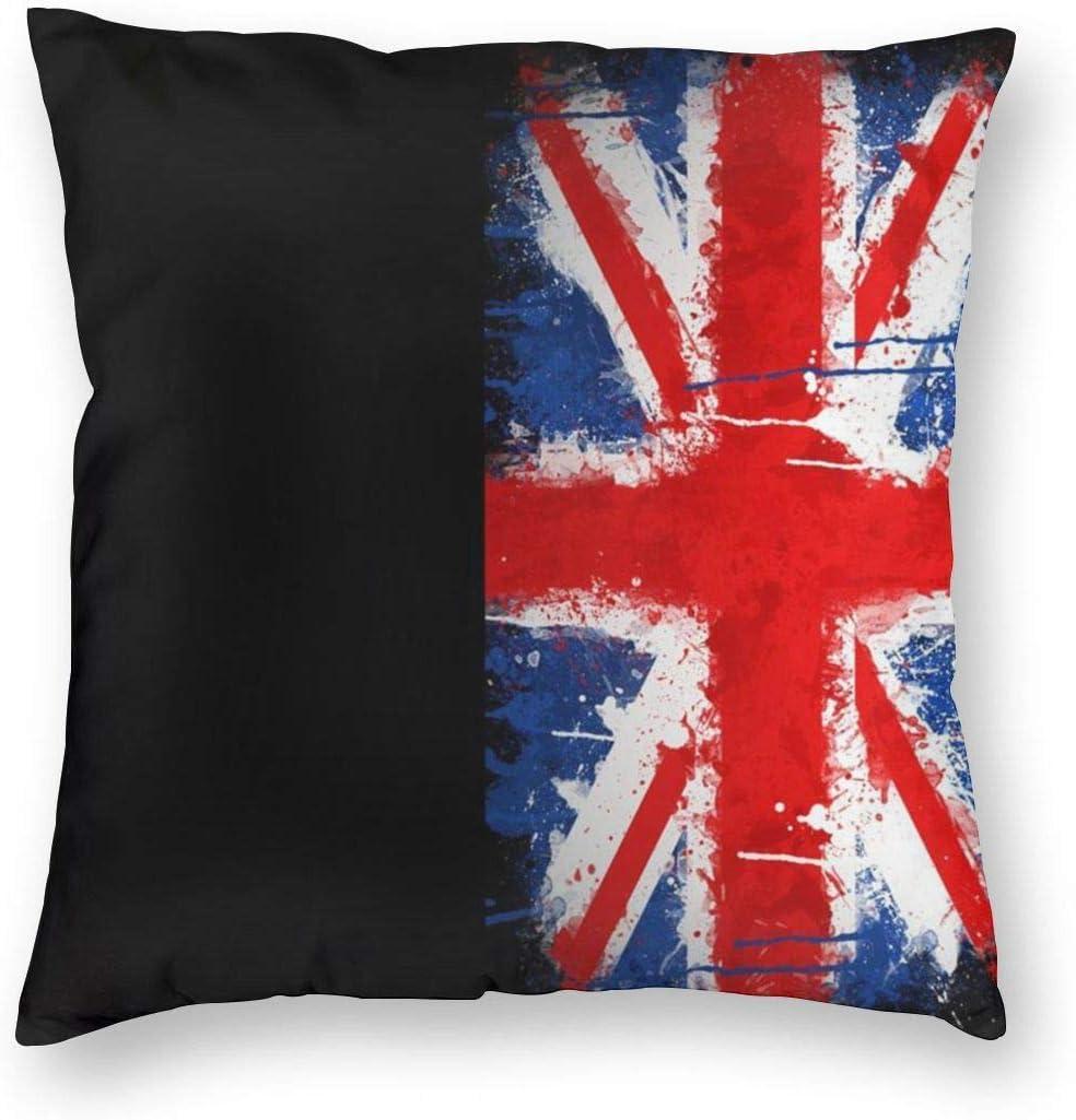 Mackinto Funda de Almohada Decorativa Cuadrada de la Bandera británica Antigua Fundas de Cojines Suaves Suaves para el sofá Dormitorio Coche 18 X 18 in