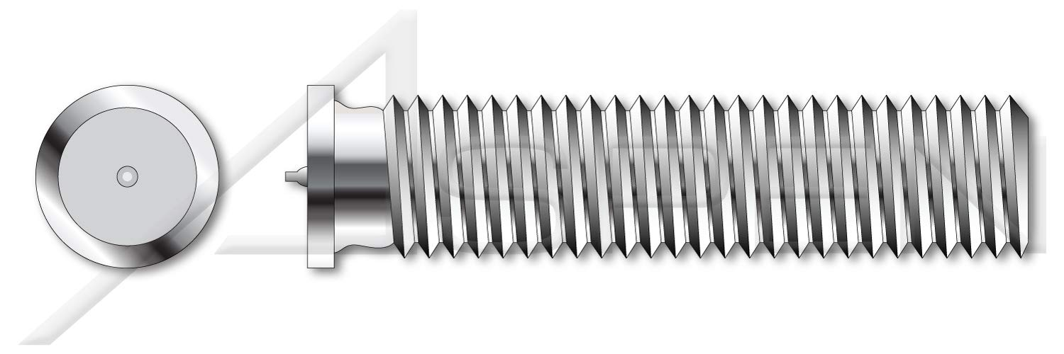 (200 pcs) M8-1.25 X 16mm, ISO 13918, Metric, Weld Studs, Type PT, A2 Stainless Steel by ASPEN FASTENERS
