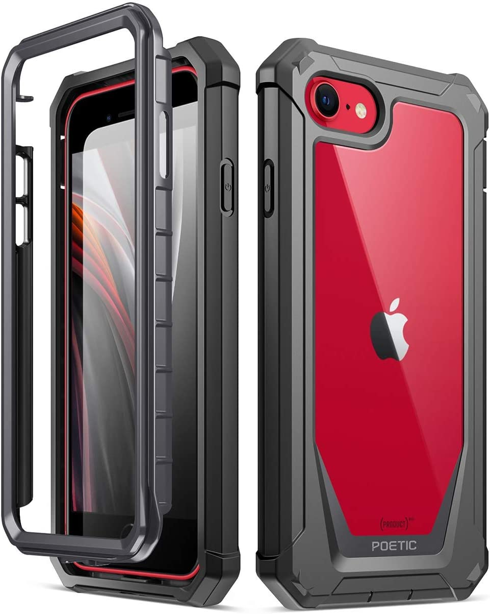 Poetic Guardian Designed Case for iPhone SE 2020 (2nd Gen), iPhone 8, iPhone 7, Full-Body Hybrid Shockproof Bumper Cover with Built-in-Screen ...