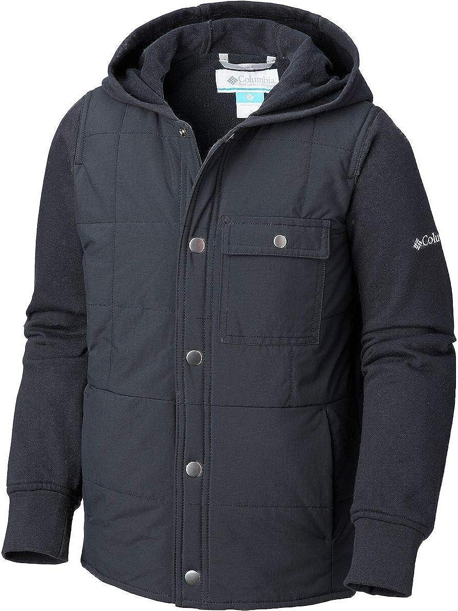 L 1801361010-L Boys Black//Cool Grey Columbia Evergreen Ridge Hybrid Hoodie