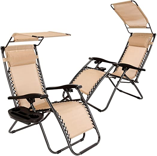 LEGENDARY-YES Set of 2 Zero Gravity Outdoor Lounge Chairs Sunshade Cup Holder