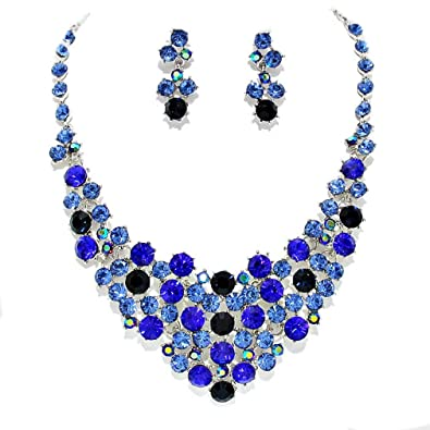 7851716ac Image Unavailable. Image not available for. Color: Elegant Women Costume  Jewelry Montana Blue Ab Rhinestone ...