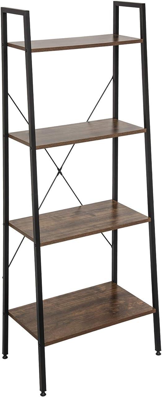 Standregal Eckregal Leiterregal mit 5 Etagen Vintage Metall Holz Pflanzenregal