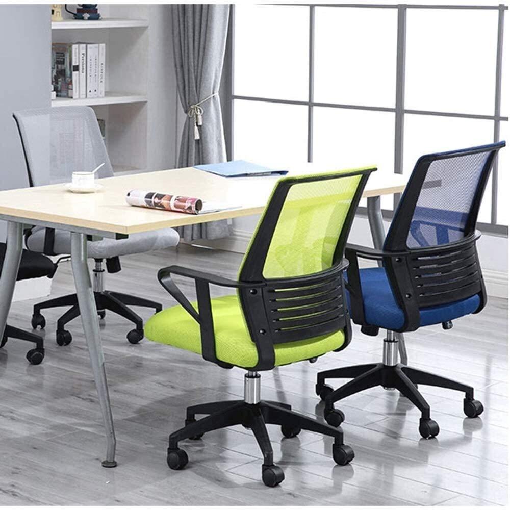 Kontorsstol, ergonomisk personalstol upphöjd roterande strömlinjeformad räcke student datorstol för student sovsal kontor nät ryggstöd fast armstöd (färg: Grön) BLÅ