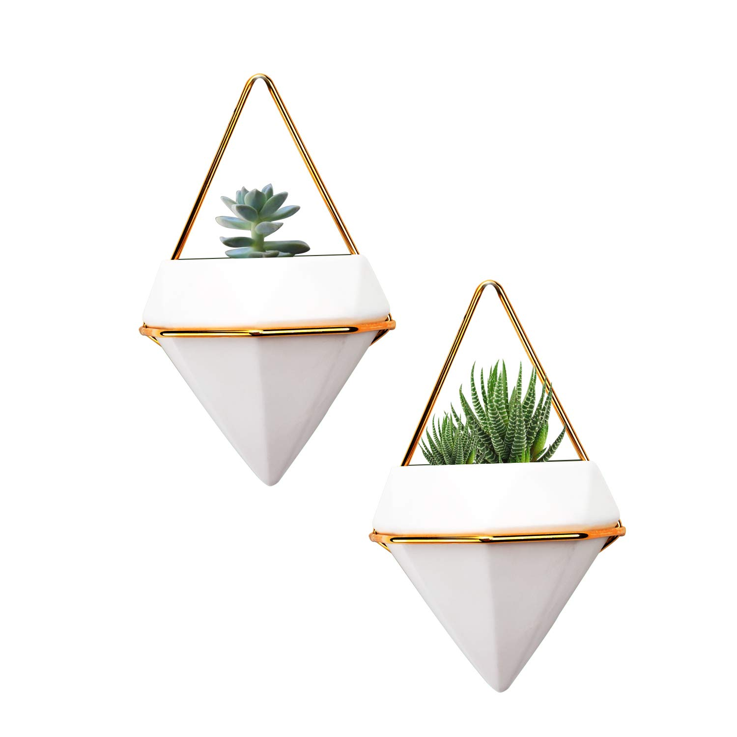 Hanging Planter Vase Geometric Wall Decor Ceramic Container Small Wall Planters Hanging with Metal Frame – Great for Succulent Plants Air Plant Mini Cactus Faux Plants and More