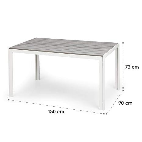 Blumfeldt Bilbao White Edition - Mesa de jardín, 150 x 73 x 90 cm, hasta 6 Personas, Materiales polywood y Aluminio, Resiste al Aire Libre, Imitación ...