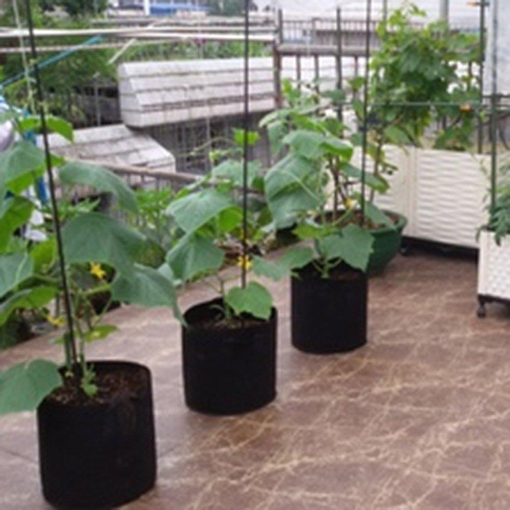 5PCS 10 Gallons Plant Growing Bag Planter Bags with Handle Straps Aeration Fabric Pots Non-woven Breathable Permeable Degradable Black zsl