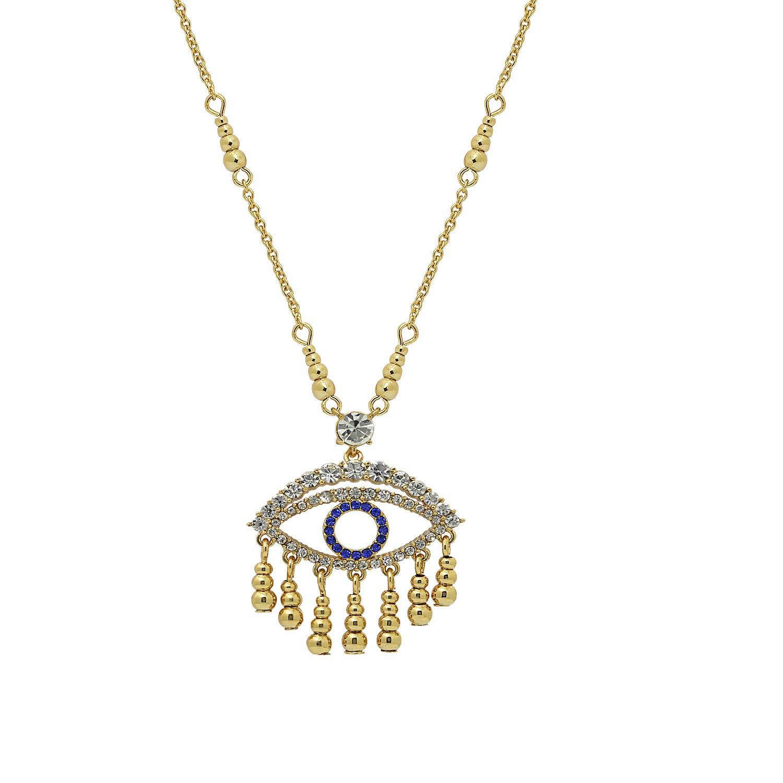 6TH AVE Evil Eye, Hamsa Collection - Gold Plated Swarovski Crystal & Sapphire Evil Eye Pendant Tassel Dangle Necklace