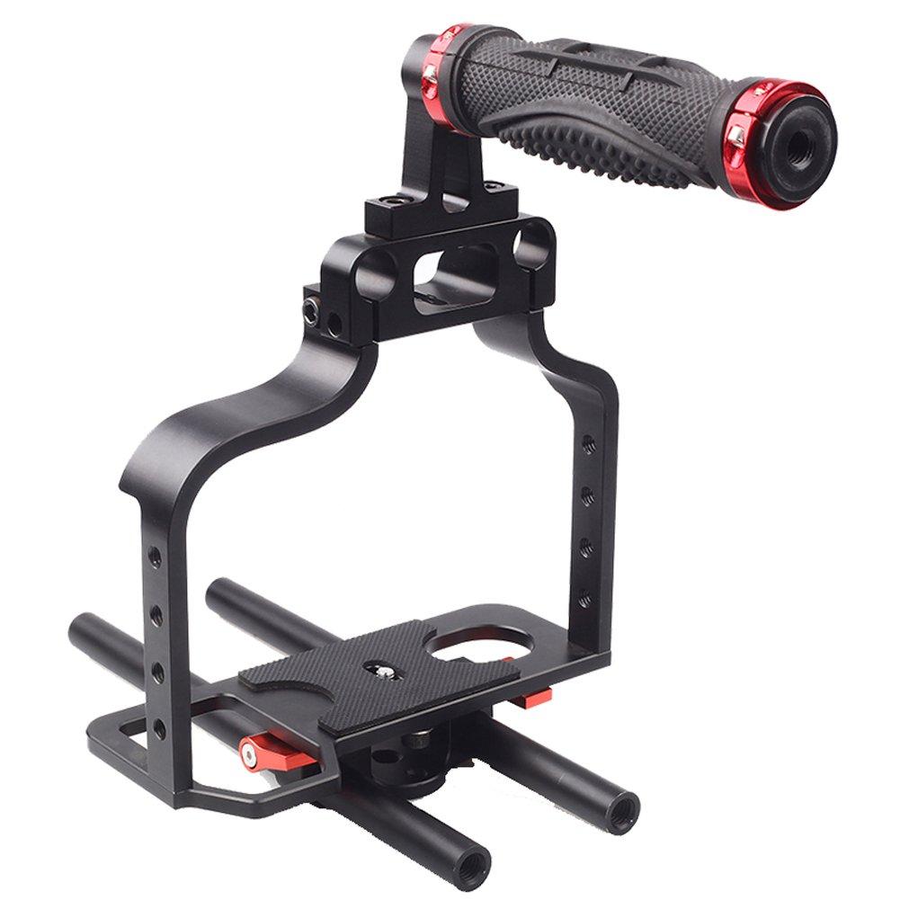 SUNRISE Pro DSLR Camera Cage Rig Set Kit 15mm Rod Shoulder for Canon 5D HSR-610