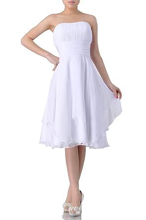 b9d5dd7079d4 Adorona Natrual A Line Knee Length Strapless Chiffon Evening Dresses: Amazon .co.uk: Clothing