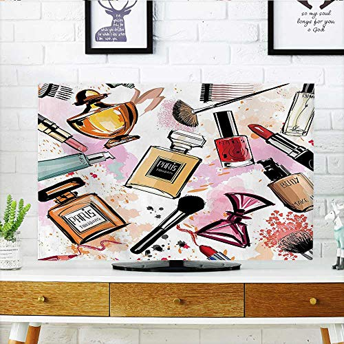 Auraisehome tv dust Cover Cosmetic and Make Up Theme Pattern with Perfume and Lipstick Nail Polish Brush Dust Resistant Television Protector W30 x H50 INCH/TV 52