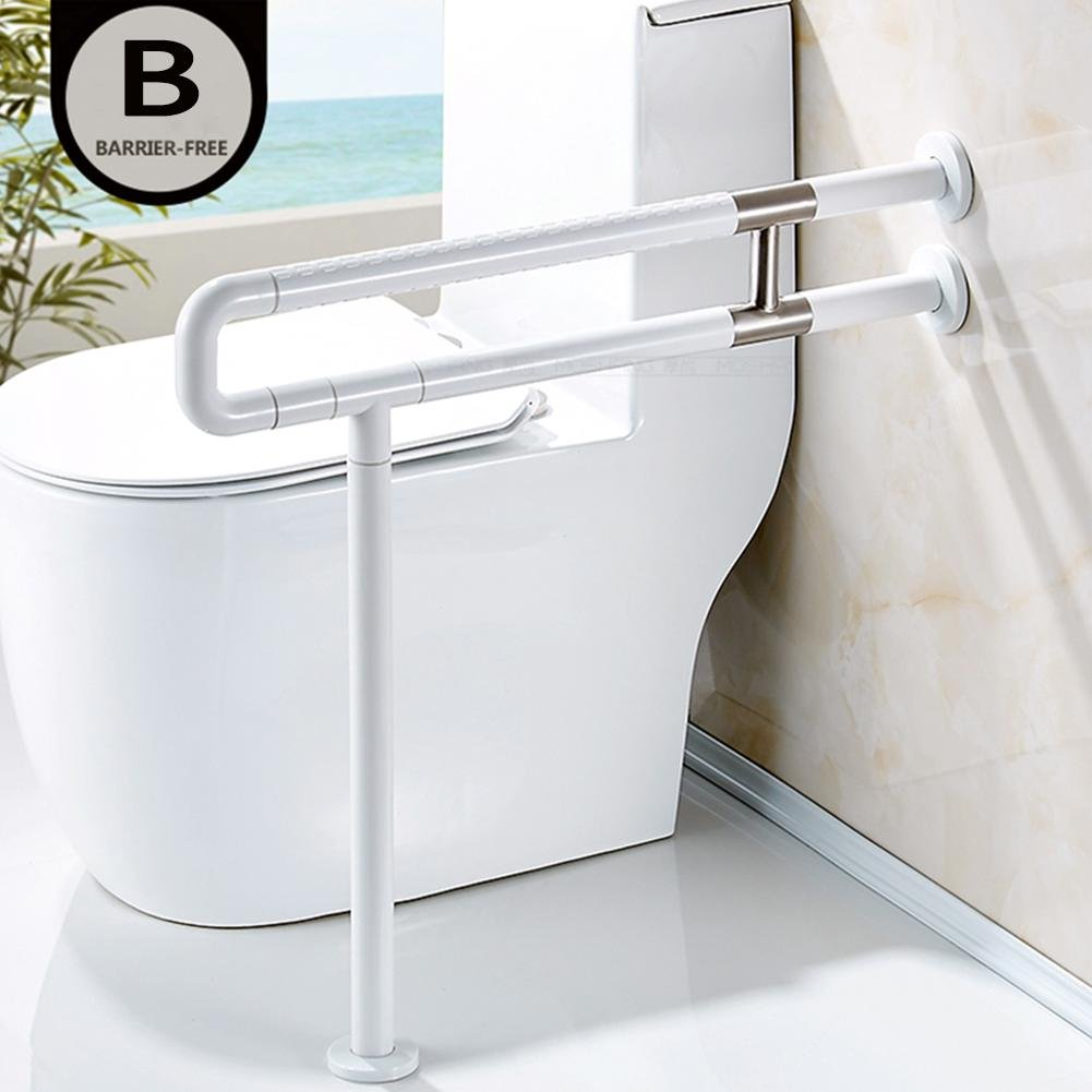 Bathroom Grab Bar Toilet Safety Frame Rail Shower Handicap Bars Medicial Bathroom Aids Armrest (Stainless Steel covered with White ABS) , B by TSAR003