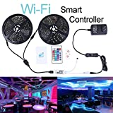 Miheal Wifi Wireless Smart Phone Controlled Led Strip Light Kit with DC12V UL Listed Power Supply Waterproof SMD 5050 32.8Ft(10M) 300leds RGB Music LED Light Strip compatible with Android, IOS Alexa