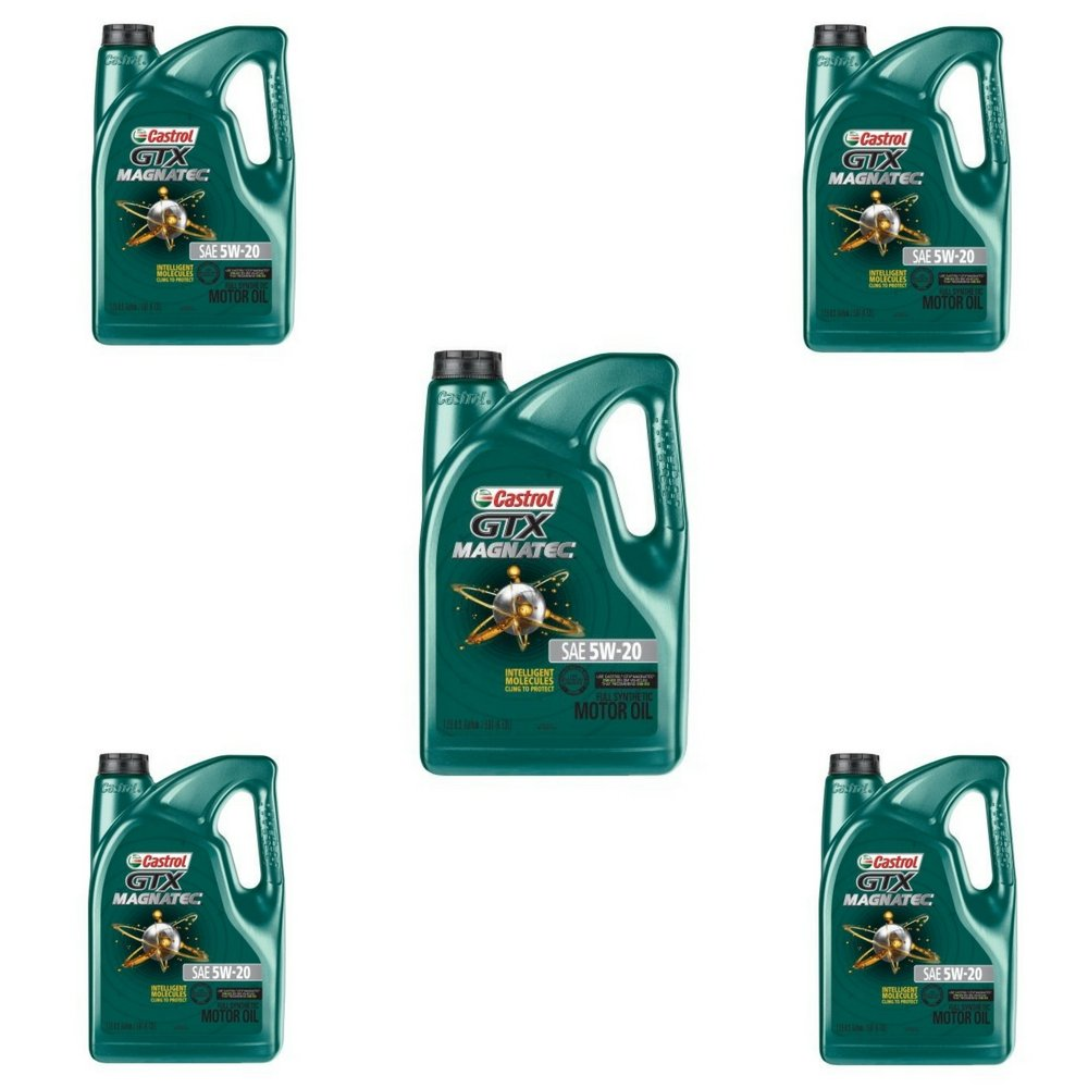 Castrol 03063 GTX MAGNATEC 5W-20 Full Synthetic Motor Oil, 5 Quart (5 QT - Pack of 5) by Castrol