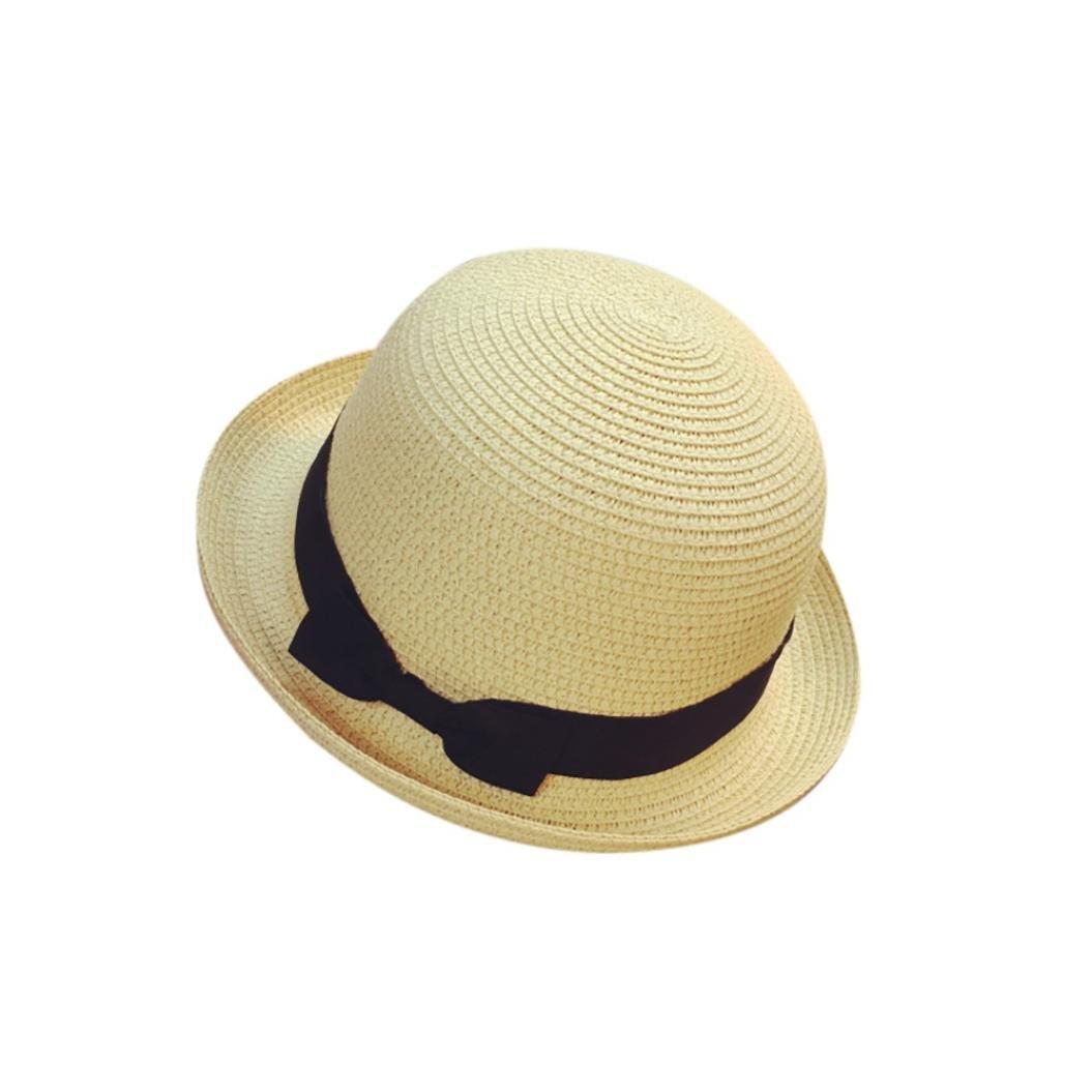 sukeqレディースSun帽子、蝶ネクタイStraw Panama Fedoraサマービーチ帽子Trilby Gangsterキャップfor旅行、58 – 60 cm  ベージュ B07DVSHW6V