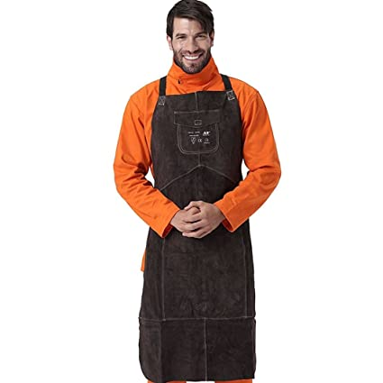 Welding Apron misure: 95/x 56/cm Professionale saldatore saldatura grembiule proteggere abbigliamento Carpenter Blacksmith giardinaggio lavoro in pelle bovina Earthen
