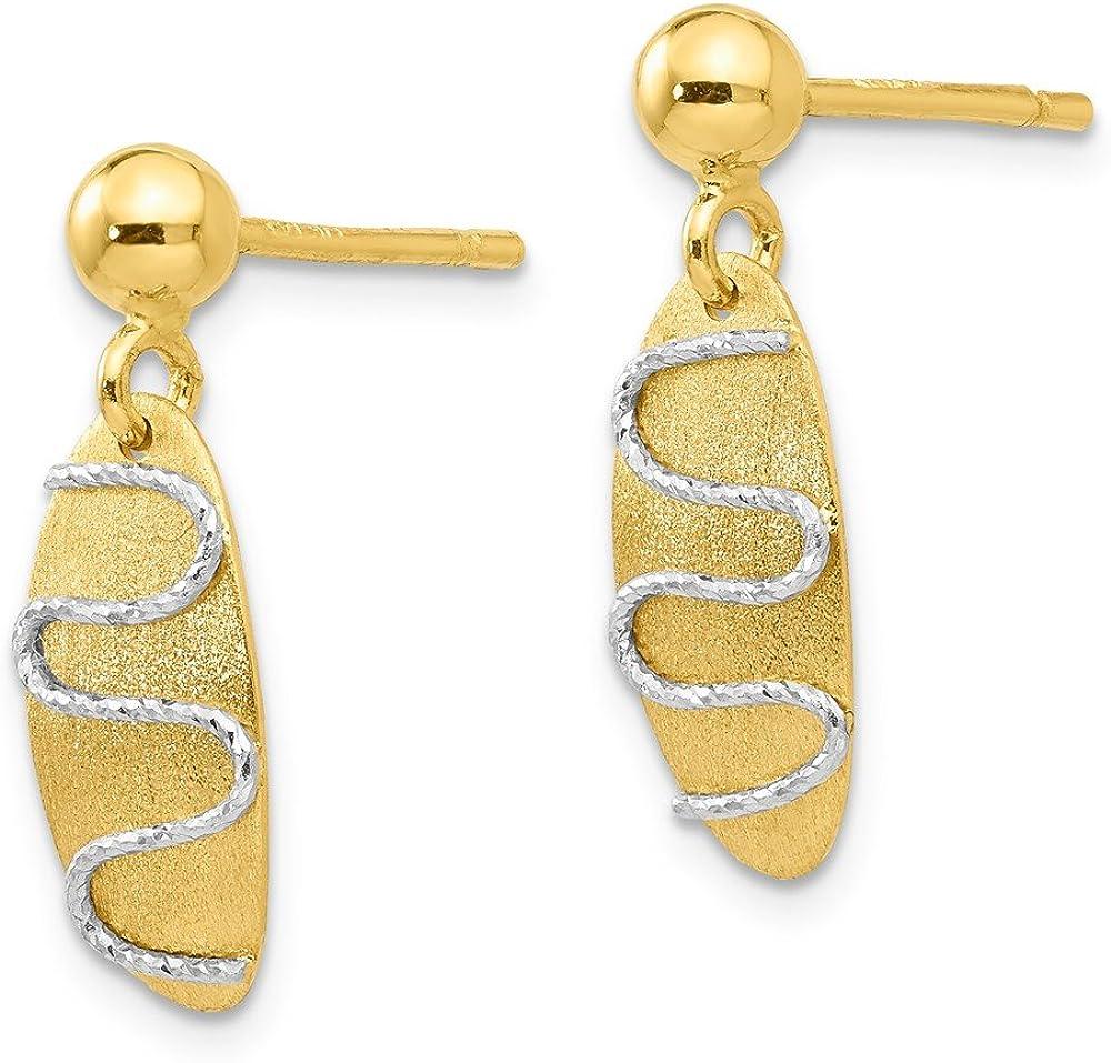 Mia Diamonds 14k Yellow Gold Satin and Polished Fancy Design on Oval Dangle Post Earrings