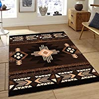 Southwest Native American Area Rug Carpet Brown Design #CR75 (5 Feet 2 Inch X 7 Feet)