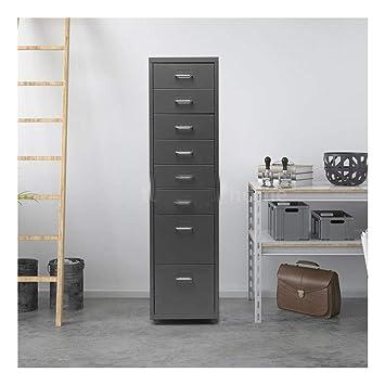 Archivador de metal gris oscuro con 8 cajones, 4 ruedas, H1Y5: Amazon.es: Oficina y papelería