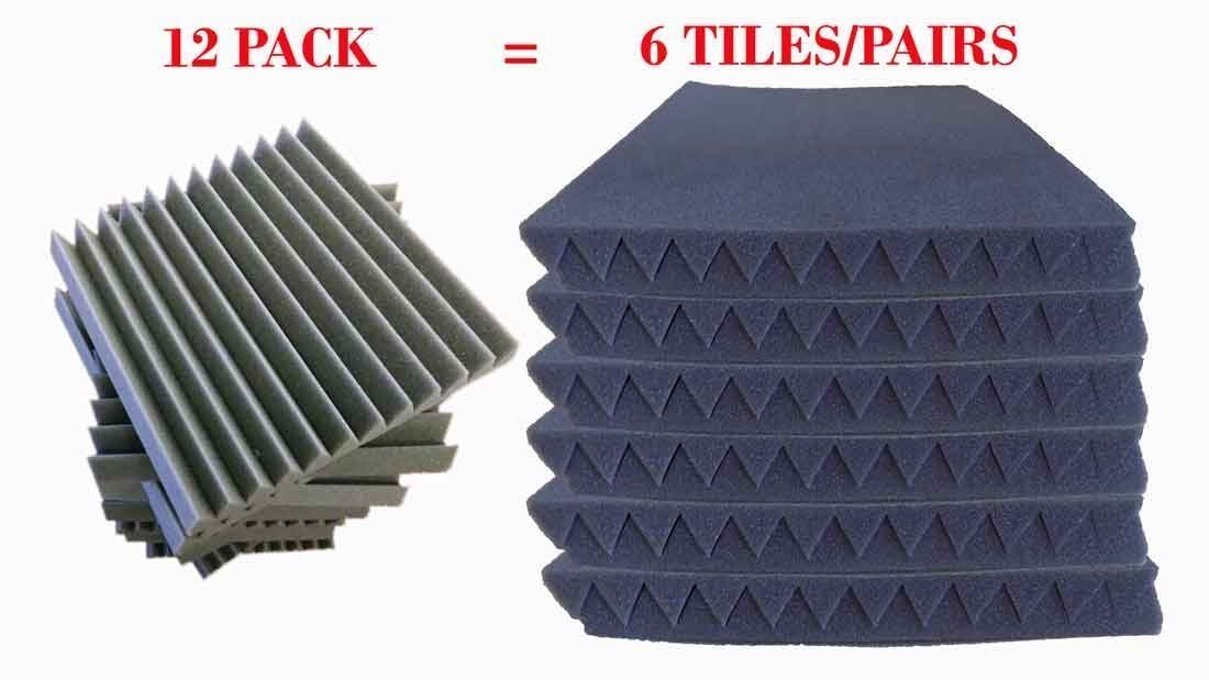 96 Pack Acoustic Panels Studio Foam Wedges 1'' X 12'' X 12'' by Mybecca (Image #2)
