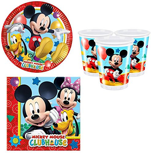 Fancy Me Girls Boys Toddlers Birthday Party 36pc Party Tableware Set Plates Cups Napkins Celebration Mickey Mouse Clubhouse Disney Paper Tableware Decorations Accessories (Tableware Set)]()