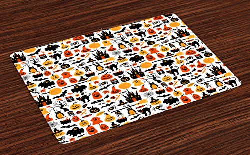 Lunarable Halloween Place Mats Set of 4, Halloween Group Candies Owls Castles Ghosts October 31 Theme, Washable Fabric Placemats for Dining Room Kitchen Table Decor, Orange Yellow ()