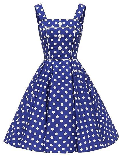 912a40e5856 VKStar® Vintage Robe de Soirée Femme Col Carré Robe Années 50s Florale avec  Boutons Robe