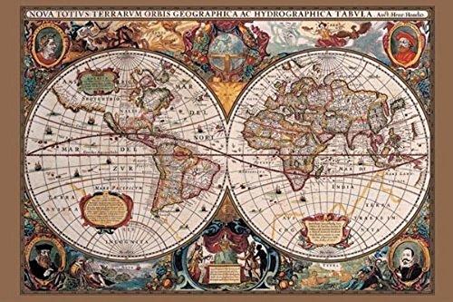 Laminated 17th Century World Map History Chart Print Poster 24x36