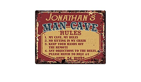 PPMR0055 JONATHAN/'S MAN CAVE RULES Rustic Tin Chic Sign man cave Decor Gift
