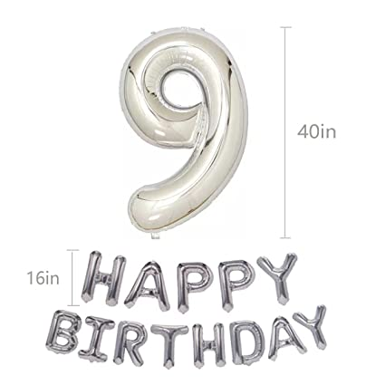 Silver 9th Birthday Balloons Kit Girl Or Boy First Decorations Happy And