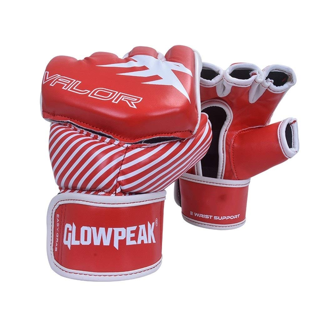 Agelec Adult Unisex Free Fight Muay Thai Taekwondo Sanda Boxing Mitten Half Finger Gloves Wear Palm Opening Breathable Boxing Gloves (Color : Red, Size : M)