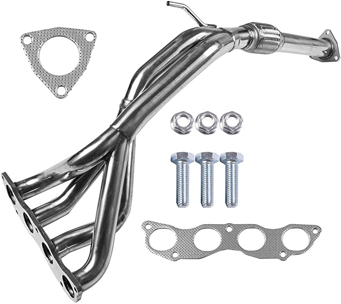 QUALINSIST Stainless Steel Exhaust Manifold Kit HDSHC01DX Fit for 2001-2005 Honda 1.7L Exhaust Kit,No Leak /& High Performance