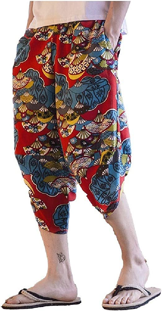 VITryst 男性 3/4 パンツ エスニック スタイルの印刷パターン 夏 リラックス フィット パンツ