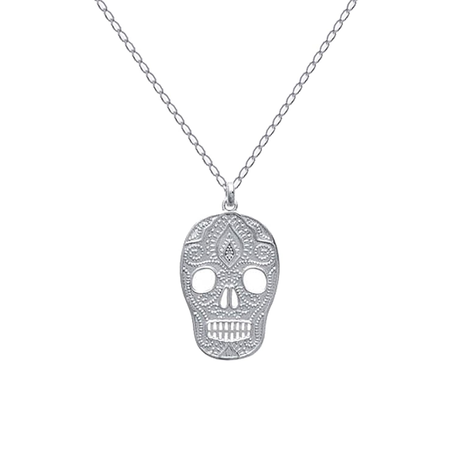 Skull And Crossbones Necklace 50 cm RhodiumPlated 925 Sterling Silver New