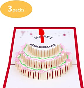 Newhaa 3 Layers Cake Pop Up Birthday Card with Cute Red Candle 5 Pcs