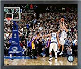 "Custom cropped on matte photographic paper, this fully licensed 11x14 photo pictures Dirk Nowitzki. Framed Open-Faced (No Glass or Plexi-Glass) in 1/2"" Black Wood Moulding. Official NBA logos appear upon photograph. Uniquely numbered NBA holo..."