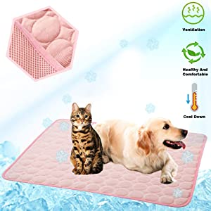 MeiLiMiYu Pet Cooling Mat Cat Dog Cushion Cooling Sleep Pad Summer Cool Down Blanket Keep Pets Cool & Comfortable