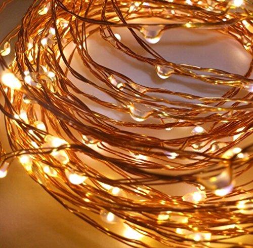 LED-Lichtshop® 1 Stück 50er LED-Lichterkette warm-weiß Innen oder Aussen batteriebetrieben mit Schalter und 4hTimer