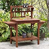 Top Rated Best Selling Most Popular Highest Rated Best Garden Large Wood Potting Bench with Storage Brown Outdoor Beautiful Solid Wood