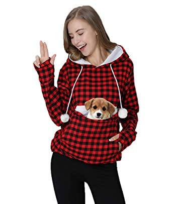 Womens Hoodie Pet Carrier Kitten Puppy Holder Kangaroo Pouch Hood Tops  Shirts Red 3510da781e