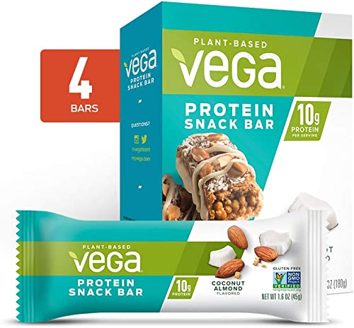 Vega Protein Snack Bar Coconut Almond 4 Count – Plant Based Vegan Protein Bars, Non Dairy, Gluten Free, Non GMO